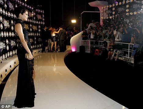 Star: Gomez arrived early to begin co-hosting duties for the VMA pre-show