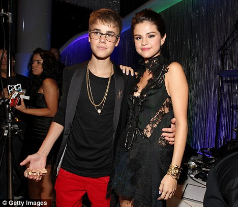 Cute couple: Justin Bieber and Selena Gomez appeared together at the MTV VMAs