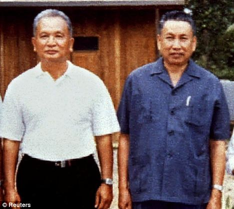 With 'Brother Number One': Nuon Chea and Pol Pot are seen in this 1986 file photo taken at a camp in western Cambodia. Nuon Chea was a top henchmen