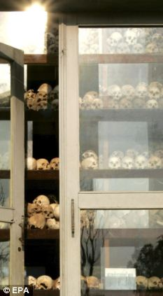 Terrible reminder: Skulls of some of the 1.7 million victims on display in Phnom Penh as a reminder of the regime