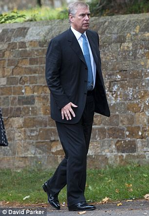 The Duke of York attending a memorial service for constituency chairman Christopher Shale