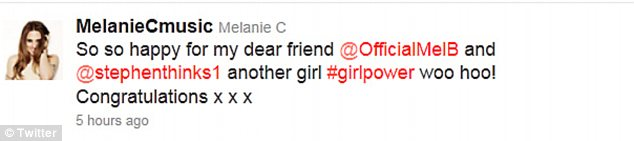 Thrilled: Mel C also congratulated her bandmate via Twitter