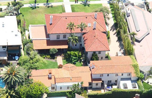 From above: An aerial view of the historic mansion in California where the tragedy happened in July