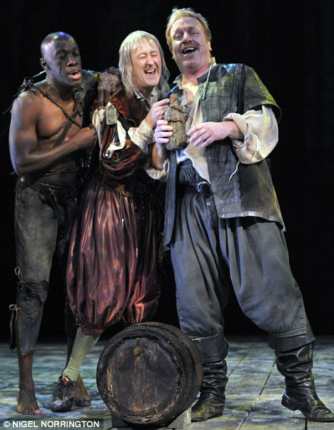 Merry men: Giles Terera as Caliban, Nicholas Lyndhurst as Trinculo and Clive Wood as Stephano in The Tempest
