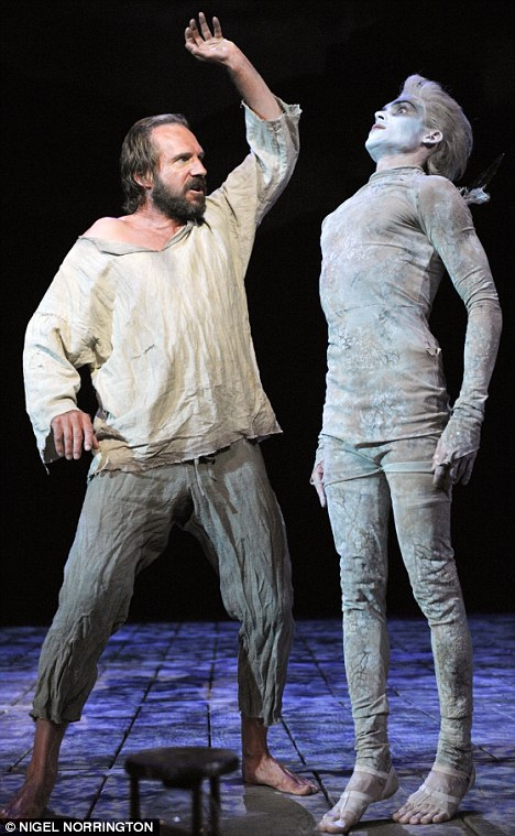 Period play: Ralph Fiennes plays Prospero in Shakespeare's The Tempest. He is pictured with Tom Byam Shaw as Ariel