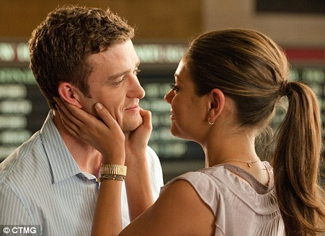 Irritating: Timberlake as 'Dylan' and Kunis as 'Jamie' in Friends With Benefits