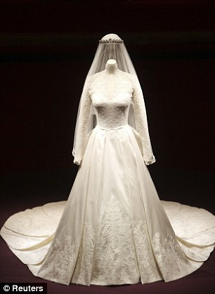 The wedding dress of Britain's Catherine, Duchess of Cambridge, designed by Sarah Burton for Alexander McQueen