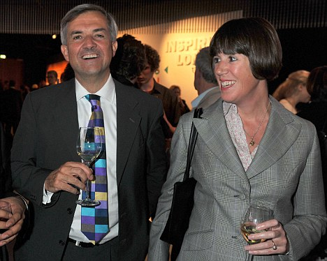 Strong: Chris Huhne, pictured with partner Christina Triminham, seems very relaxed as he awaits the decision over speeding points