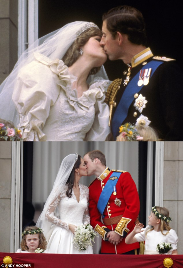Sealed with a kiss: William kisses his new wife Catherine for the second time - Prince Charles and Princess Diana kiss on the balcony in 1981