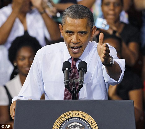 Grand gestures: President Obama during a speech on his jobs bill in Richmond, Virginia, on Friday