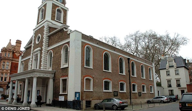Service: The Grosvenor Chapel in London, where the families of British 9/11 victims held a memorial