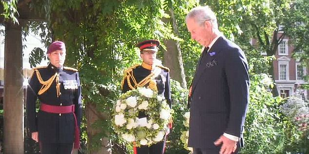 Royal tribute: Prince Charles laid a wreath at the September 11 memorial near the American Embassy