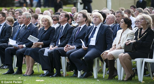 Sombre: The Royals and politicians joined members of around 30 families who lost loved ones in the terrorist atrocities