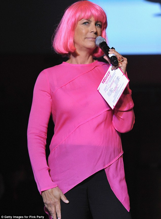 Pink lady: Jamie Lee Curtis wore a bright pink wig as she spoke in support of the charity cause