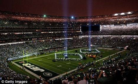 Picture perfect: The Jets puts on a spectacular at the interval to commemorate the victims of 9/11