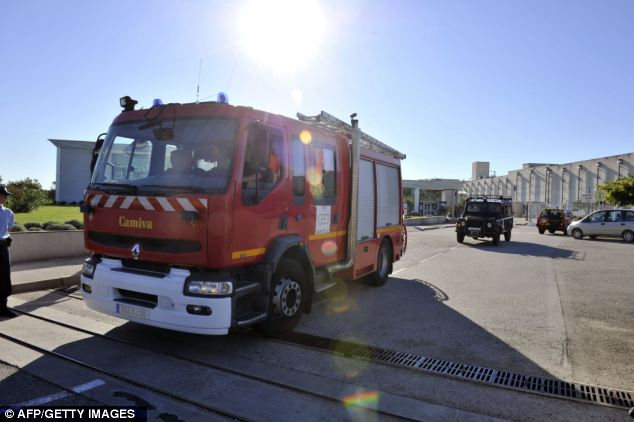 Response: A fire truck arrives at Marcoule nuclear waste treatment centre after the blast