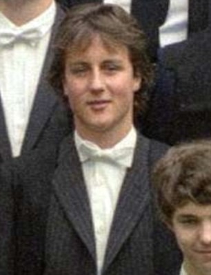 University days: Mr Cameron as an undergraduate at Brasenose College, Oxford. He revealed during a gap year to Russia he was approached on a beach by men who tried to recruit him as a KGB spy
