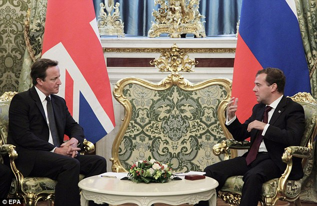 Mr Cameron met with Russia's President Dmitry Medvedev at the Kremlin in Moscow - and he will also have an audience with Vladimir Putin