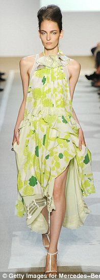 Flowing layers of chiffon were worked in nature-inspired prints