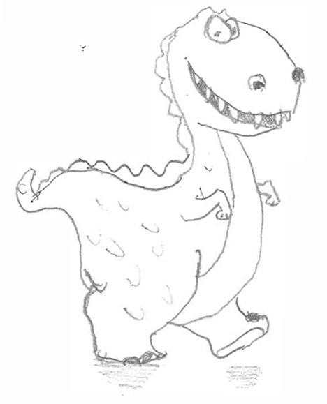 Not bad actually: Bill Bennett was astonished when a Marks and Spencer customer service adviser complied with his cheeky request for a drawing of a 'smiley dinosaur'