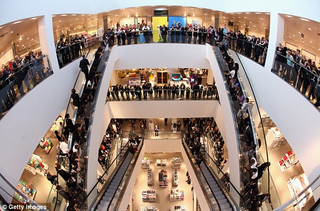 Busy: A steady stream of customers arrived to explore the new shopping centre