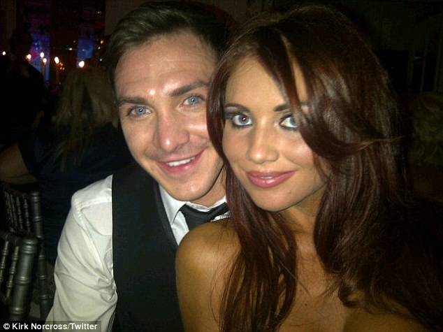 Close: The Only Way Is Essex star Kirk Norcross cosies up to his ex-girlfriend Amy Childs at the TV Choice Awards at The Savoy Hotel in London in 2011