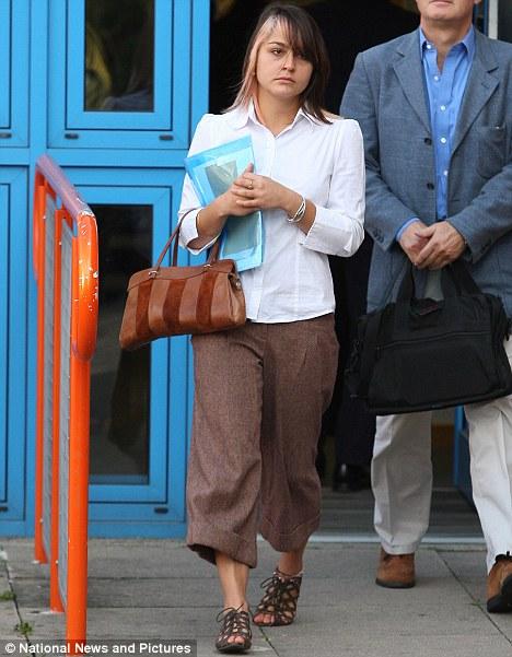 In court: Katherine Goldberg, 25, outside Uxbridge Magistrates Court this morning