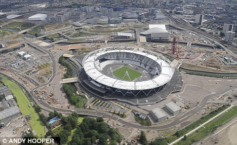 Wrong: Members of the British Sugarcraft Guild thought their Olympic theme would be perfect as the Games start in the Olympic Stadium (pictured) just two months later