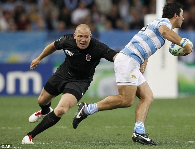 Mike Tindall in action during Saturday's match against Argentina, after which the skipper led the charge of a raucous night out