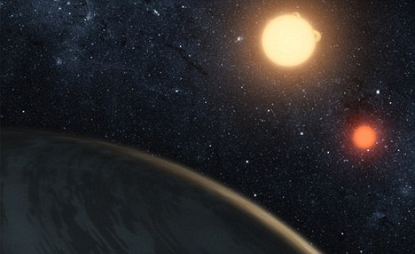 Double sunset: The planet, which is 200 light years away, is orbited by two suns