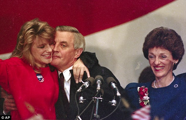 Help: Elanor Mondale, left, is hugged by her father, Walter, as her mother Joan looks on in 1984 after the presidential candidate conceded the race to the White House to Ronald Reagan