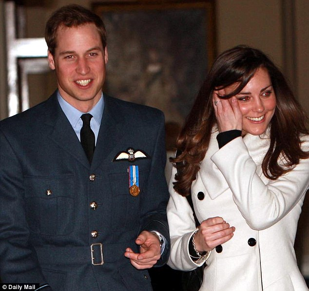 Double take: Rebecca recreated the scene scene below of Prince William with Kate Middleton after he graduated from RAF Cranwell with seeds