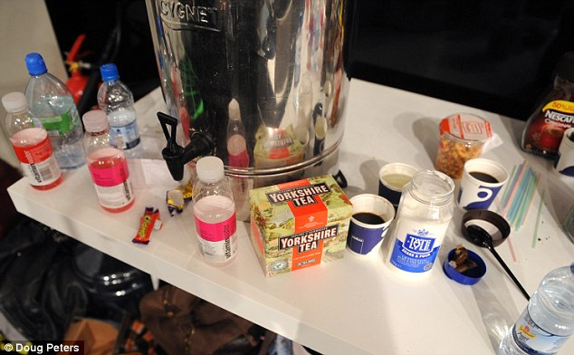 Fuel for models: Yorkshire tea, glaceau vitaminwater, a Cadbury's Chomp, Nescafe and a Sainsbury pasta salad - the food and drink that keeps the models refreshed