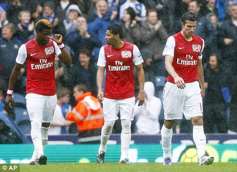 Down and out: Arsenal have conceded 14 goals in five games