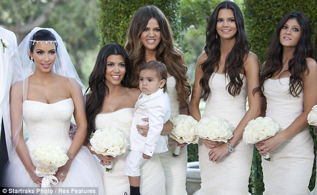 Generous: Kim dressed her sisters in similarly beautiful gowns to her stunning number
