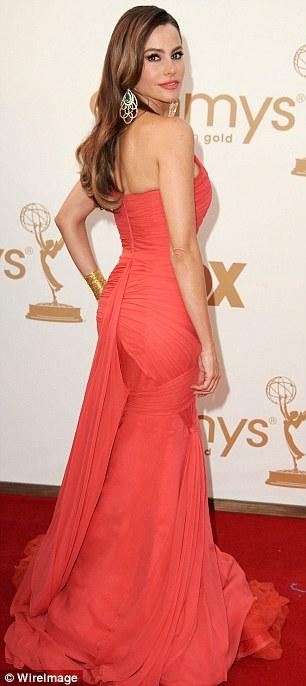 Orange crush: Modern Family star Sofia Vergara in Vera Wang