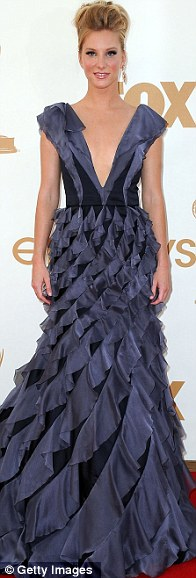 Taking the plunge: Emily Blunt in Elie Saab, Julie Bowen in Oscar de la Renta and Glee's Heather Morris