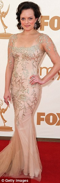 Golden girls: Mad Men's Elizabeth Moss wore Marchesa; Top Chef host Padma Lakshmi in Armani Privé and So You Think You Can Dance presenter Cat Deeley in Monique Lhuillier