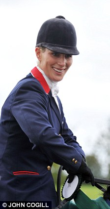 Zara Phillips is shown receiving her 1st after winning the three-day eventing at the International Horse Trials in Ballindenisk, Co Cork