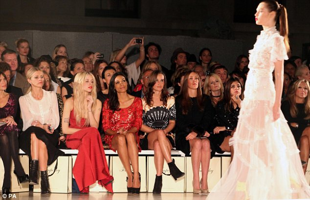 Front row at Temperley: Pippa Middleton (centre) with Rosario Dawson, Peaches Geldof, and model Laura Bailey to the left