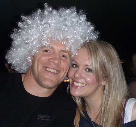 More antics: Tindall posing with another blonde, Janine Jeferis  on a night out in Queenstown, New Zealand