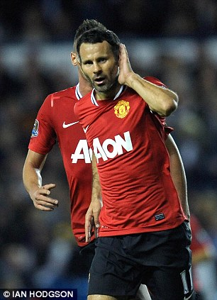 Say what? Ryan Giggs gestures to Leeds fans after scoring