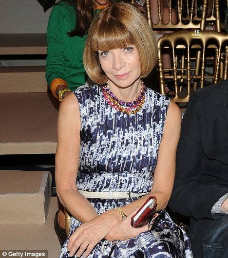 Disgusted: Anna Wintour, pictured on the front row at the Salvatore Ferragamo show this weekend, has called on women to protest against Silvio Berlusconi