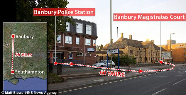 A stones throw: A prison van was sent  from 96 miles away to take defendant Thomas Oliver on this 60 yard journey from police station to magistrates' court