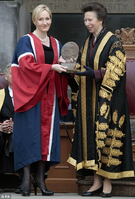 Honoured: Yesterday JK Rowling was presented with a Benefactors Award by Edinburgh University and the Princess Royal for her £10million donation to establish a new multiple sclerosis research clinic