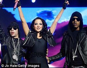 Tulisa with N-Dubz bandmates, cousin Dappy, left, and boyfriend Fazer