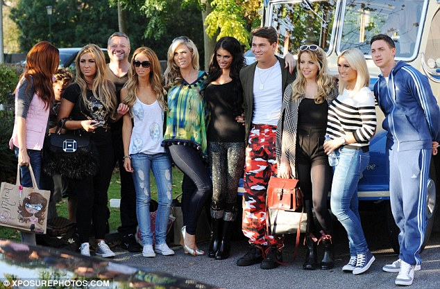 TOWIE on tour: The gang pose by a 1940s bus as they get ready to pile aboard (L-R Maria Fowler, Lauren G, Mick Norcross, Lauren P, Frankie Essex, Chloe Sim, Joey Essex, Lydia Bright, Billie Faiers and Kirk Norcross)