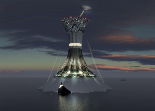 Man-made island: The entire island at night under artificial illumination