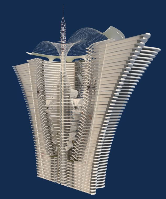 Cross-section: Cutaway showing 144 stories of the island