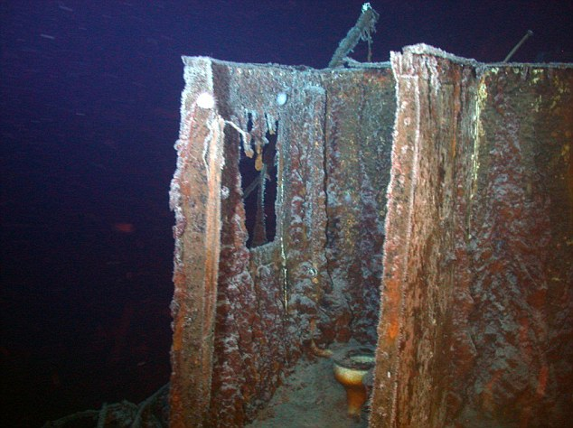 Uncovered: An intact toilet sits on the bridge deck of the SS Gairsoppa